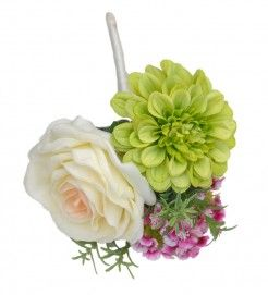 Wedding Flower Wand in a Cottage Garden Theme with Rosemary Foliage from Sarahs Flowers