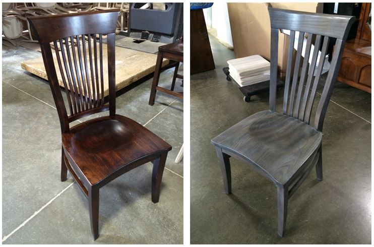 Both of these chairs are beautiful handcrafted pieces. Do you prefer the dark stained or the gray finished chair?   Houston, TX   Gallery Furniture  