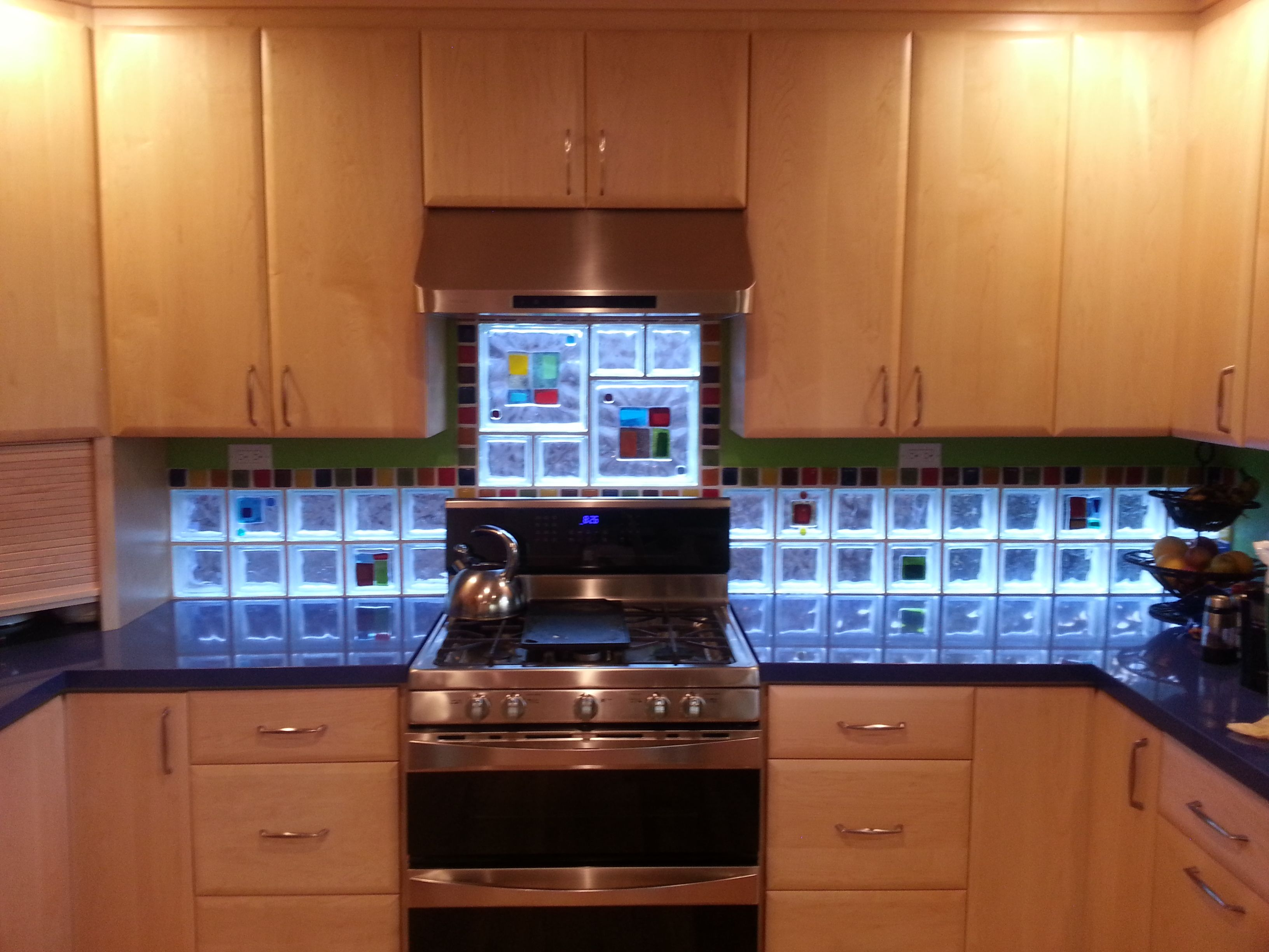 art glass tile block backsplash in california | glass tile blocks