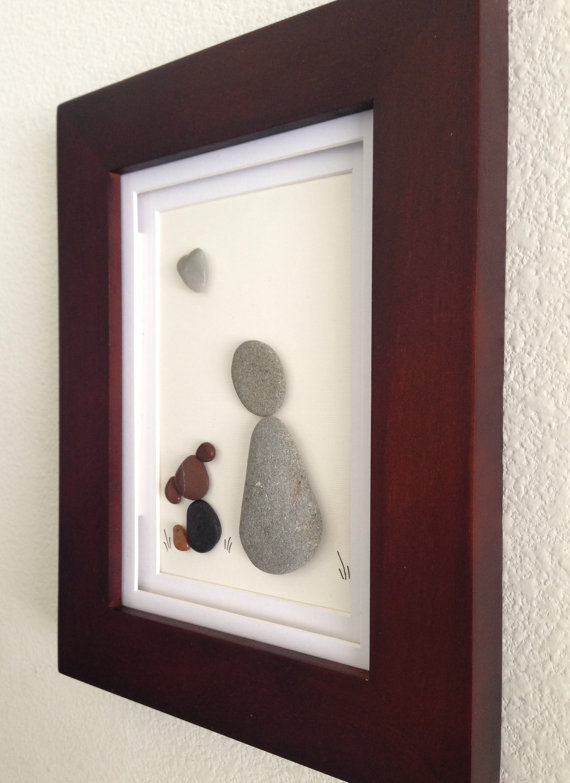 Pebble art, dog and owner, dog lover, wall art, home decor, unique ...