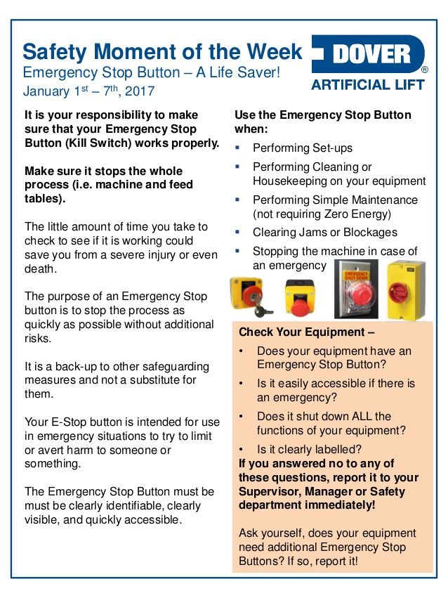Dover ALS Safety Moment of the Week 02Jan2017 Safety