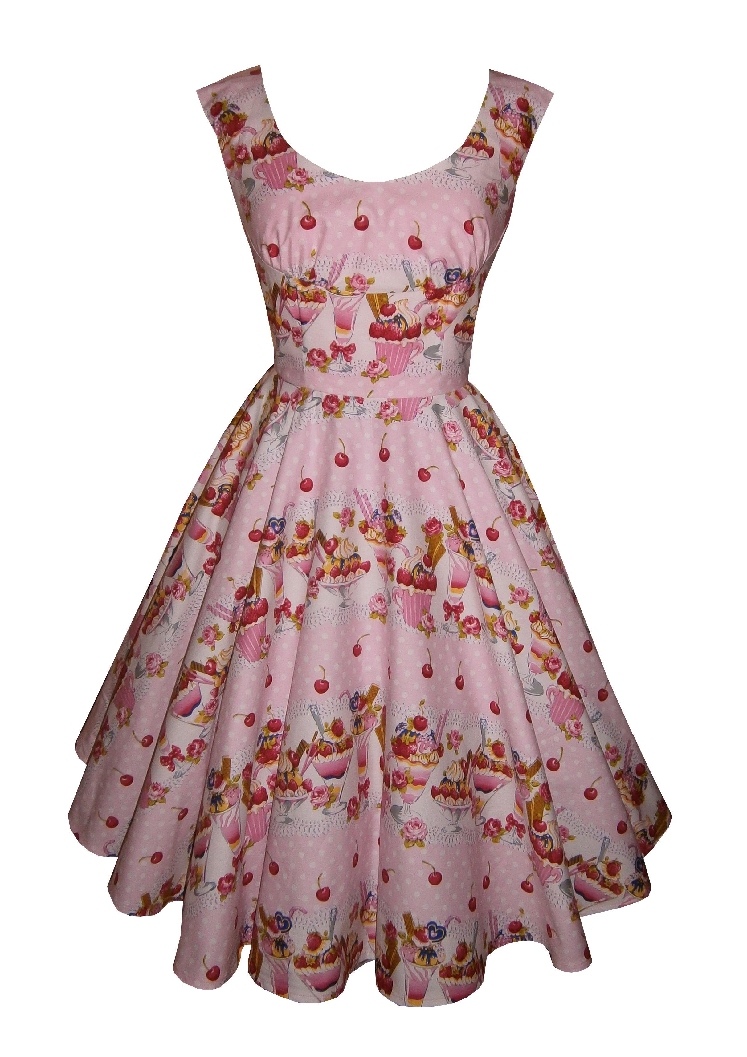 'Sweet Sundae' - Full circle 'Cecelia' in pink sundae cotton. 1950s vintage style dress. £50