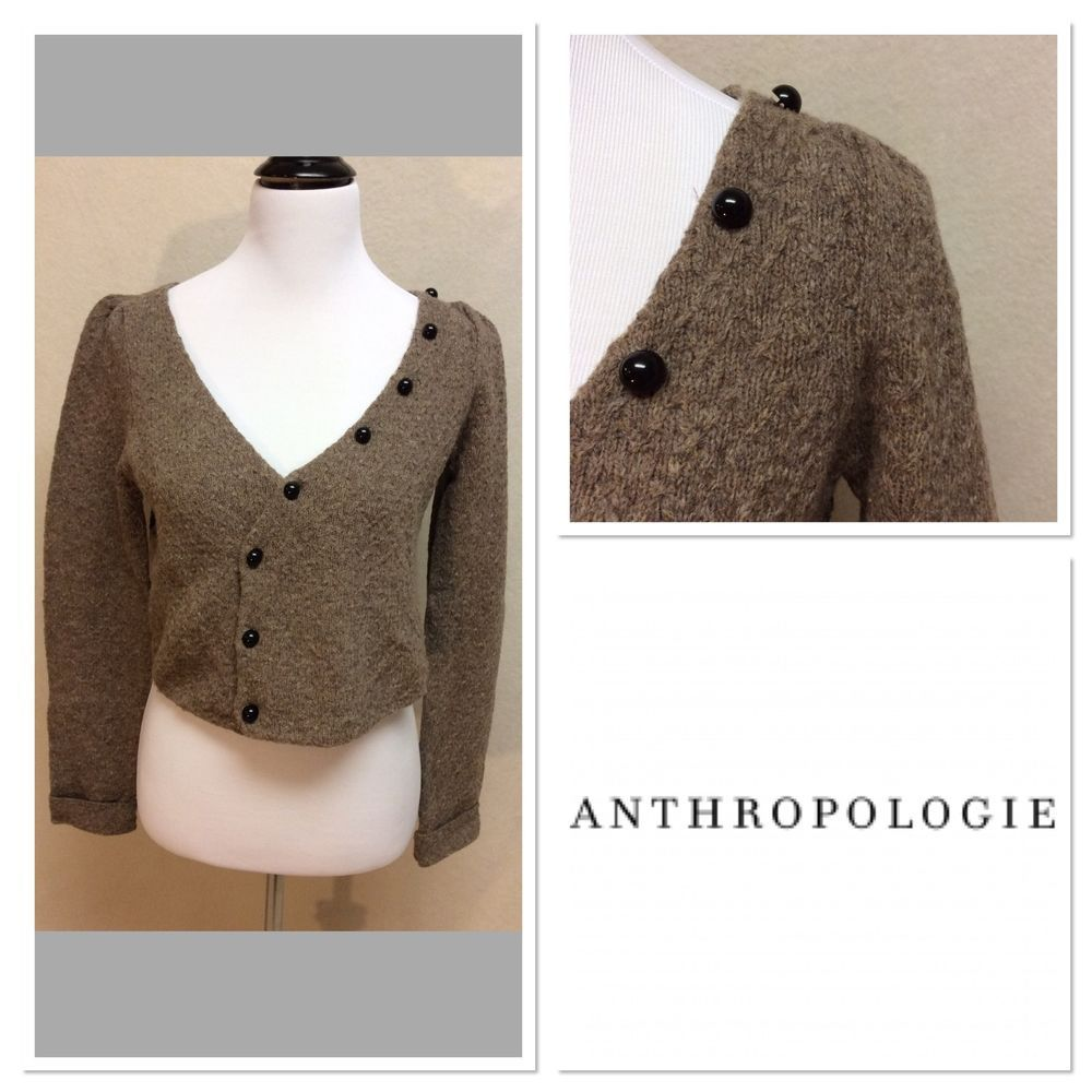Anthropologie Moth Brown Wool Blend Crop Button Up Sweater Long ...