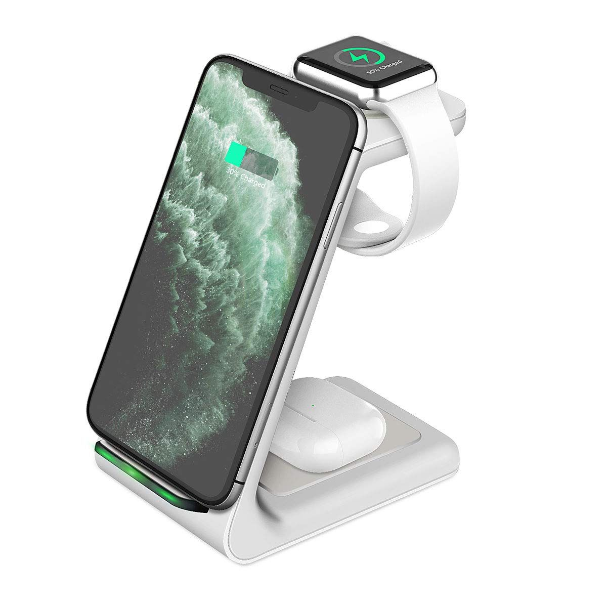 Wireless Charging Station Kkuyi 3 In 1 Wireless Charger Stand For