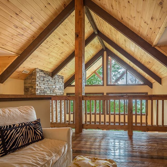 Rustic Loft, Tongue and Groove, Exposed Beams #loft #cozy #mountainliving #rustichomes #lifestyleguide #mountainhome #vpcbuilders http://ow.ly/Rcmtq