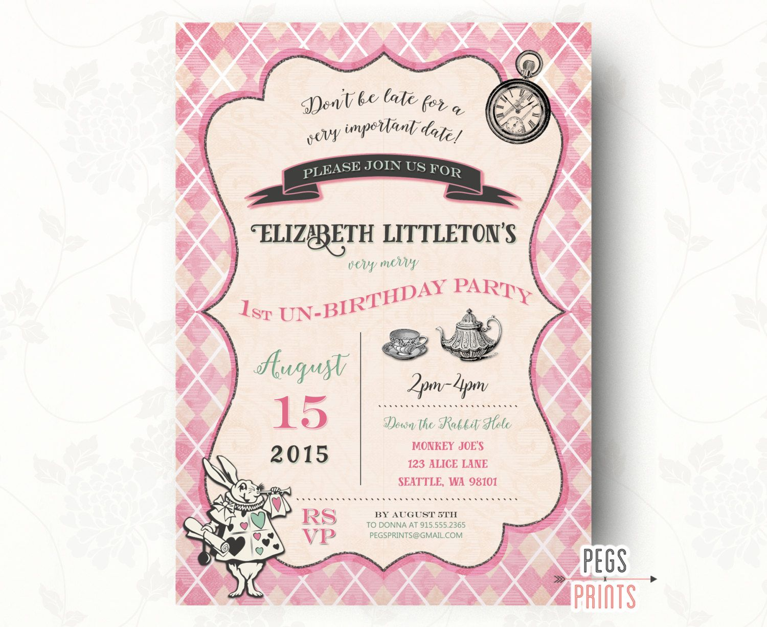 Mad Hatter Birthday Invitation (Printable) Mad Hatter Tea Party ...