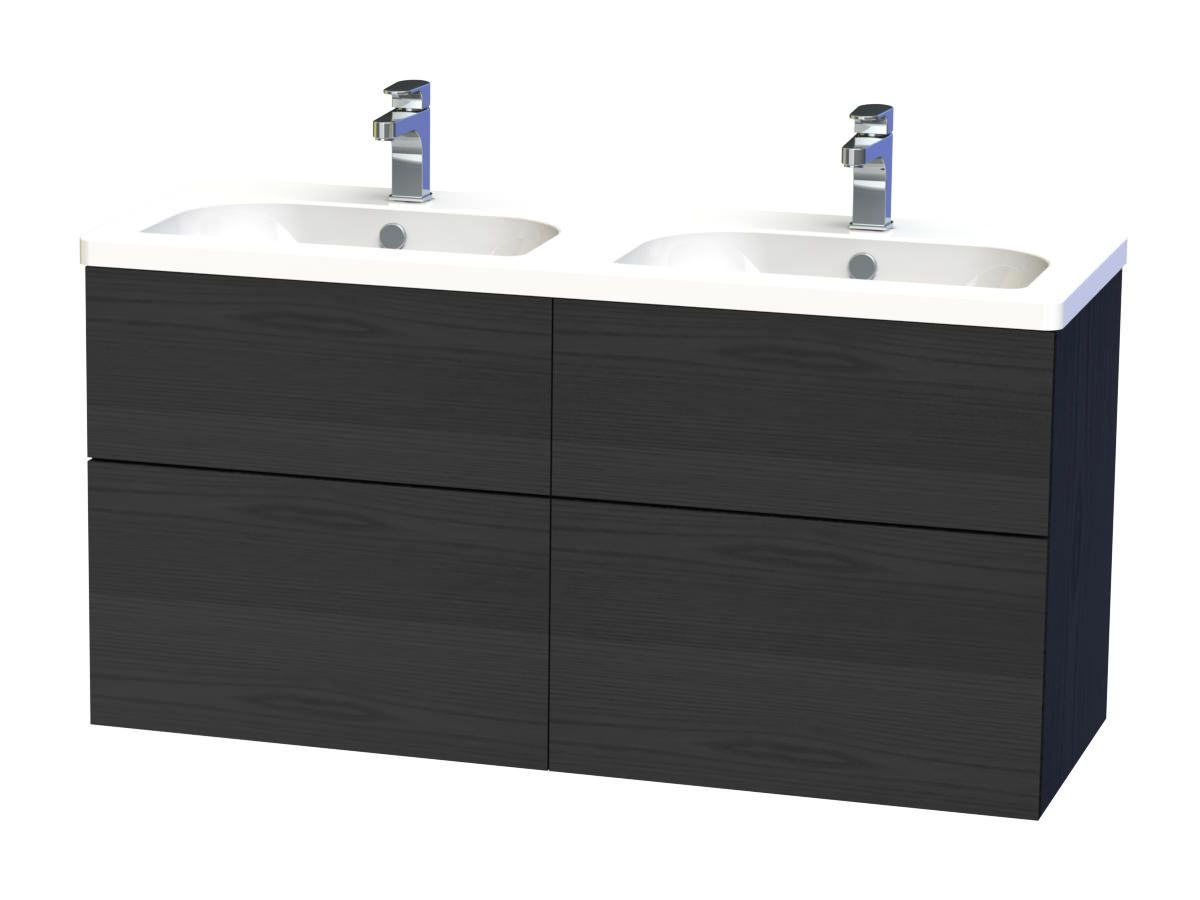 Arizona 600mm wall hung black gloss basin vanity unit side cabinet - Miller New York 120 Black Four Drawer Wall Hung Vanity Unit 266 4