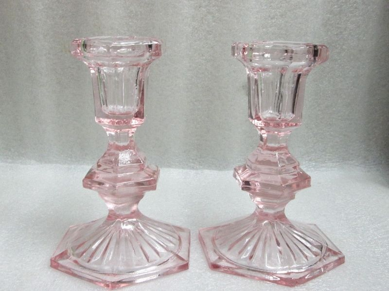 Shabby Decor Pair Of Vintage Pink Pressed Glass Candlestick Holders W Candles 5 Glass Candlesticks Candlesticks Glass Candlestick Holders