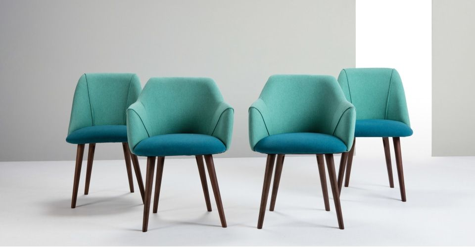 Set Of 2 High Back Dining Chairs Blue And Green Lule Made Com