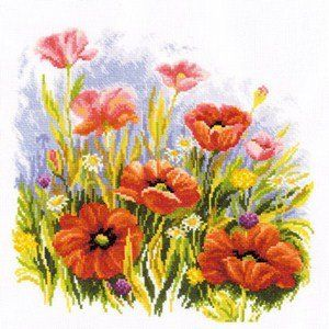 Cross Stitch Kit Poppies in the morning light art 40-72