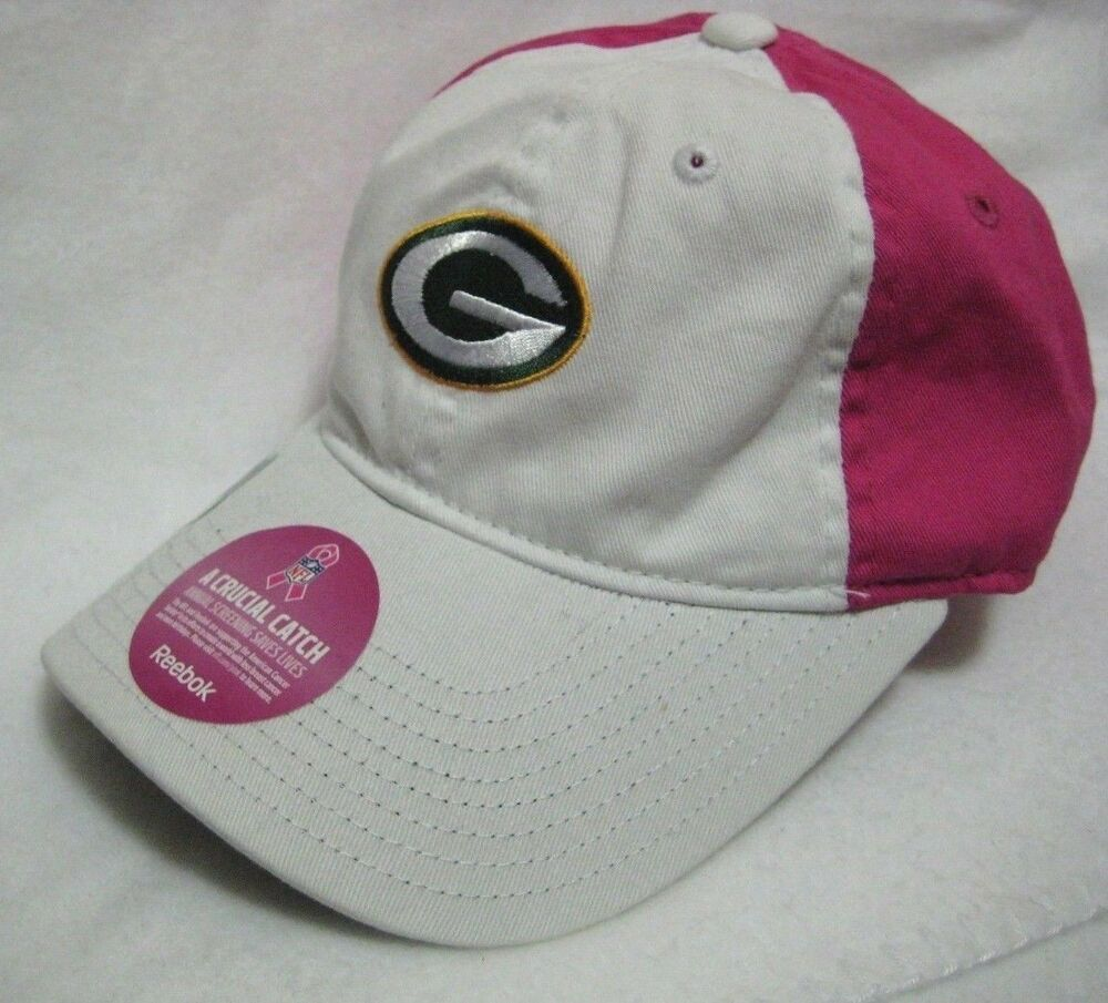 Details About Pink White Green Bay Packers Nfl Reebok Adjustable Women S S M Cap New W Tags Nfl Packers Reebok Womens Gloves