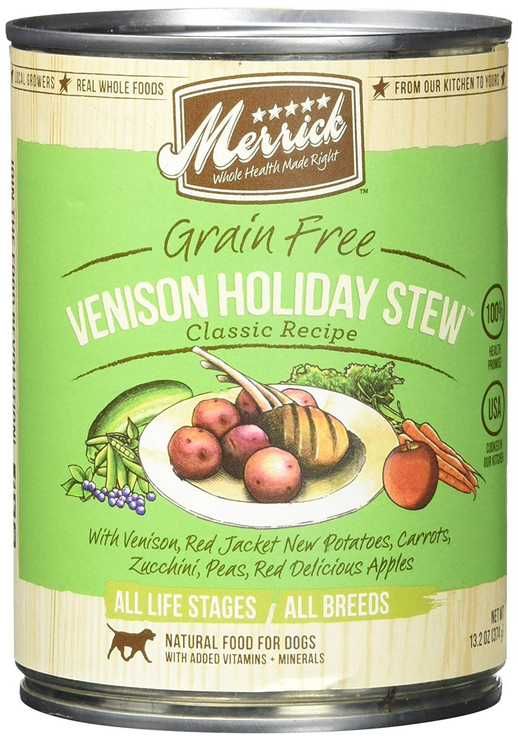 Merrick pet care venison holiday stew can for dog 132
