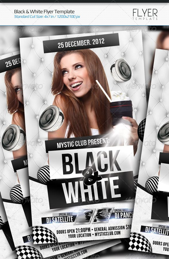 Black \ White Flyer Template Fonts-logos-icons Pinterest - black and white flyer template