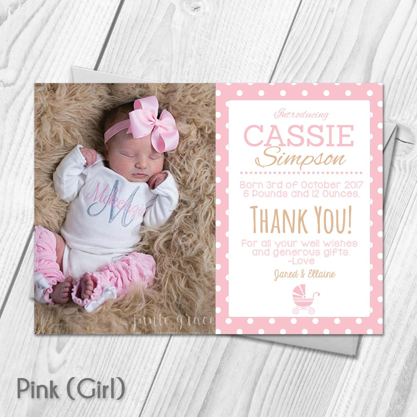 Personalised Baby Girl Thank You Card (Packs of ten) | Personalised ...