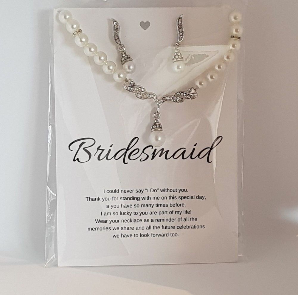 BRIDESMAID Wedding Gift Set , Pearl Necklace & Earrings On