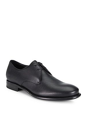 Salvatore Ferragamo Stefano Pebbled Leather Oxfords
