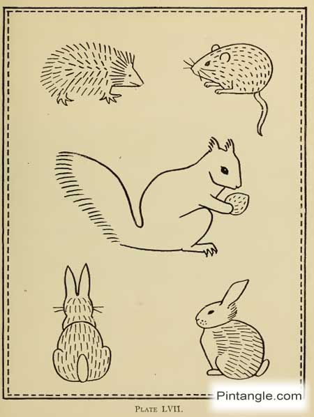 Hand Embroidery Pattern Of Rabbit Mouse Squirrel And Hedgehog I