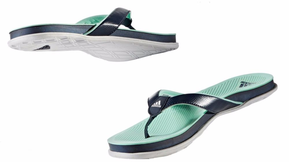 17693f1b8 WOMENS ADIDAS ORIGINALS CLOUDFOAM PLUS THONG SANDAL navy white green BY8681   ADIDAS  BY8681