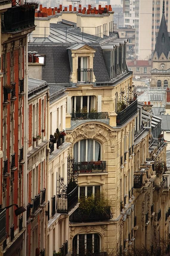 Paris Photography, Romantic rooftops of Montmartre,terracotta, soft blue and grey tones, French Deco