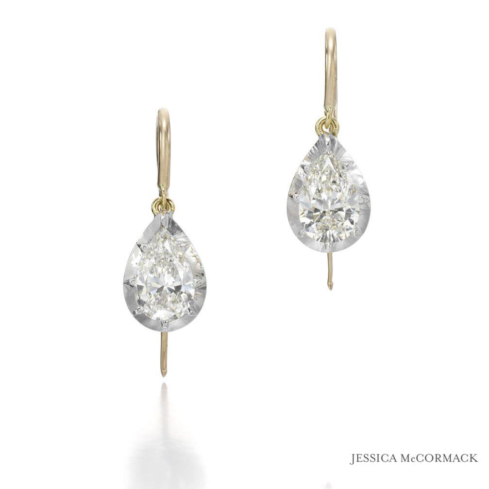Jessica Mccormack Pear Shape Diamond Drop Earrings {diamonds, Yellow Gold,  White Gold}