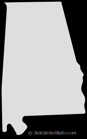 Alabama Map Outline Printable State Shape Stencil Pattern