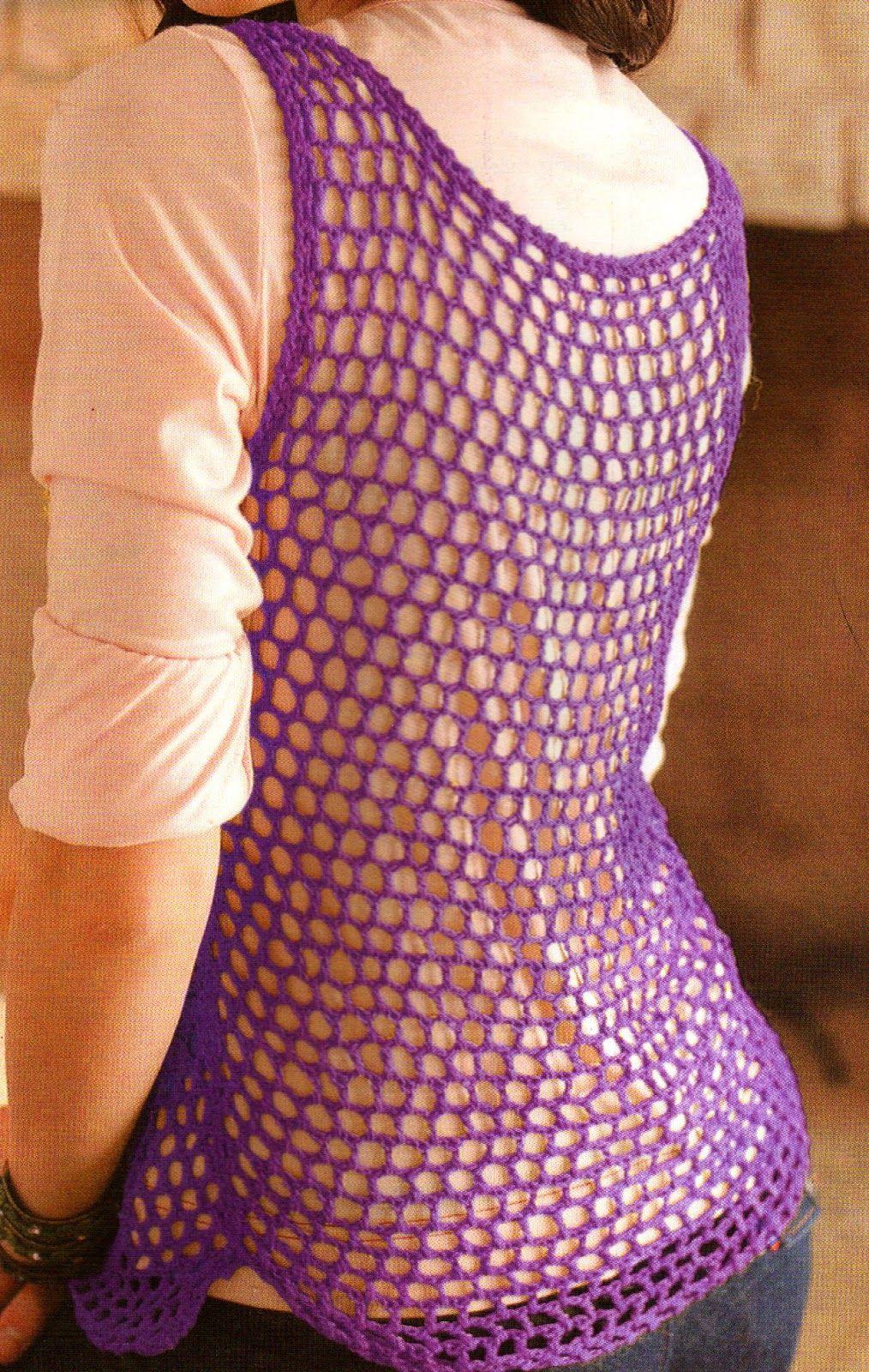 tejidos artesanales en crochet: musculosa en punto red tejida en ...