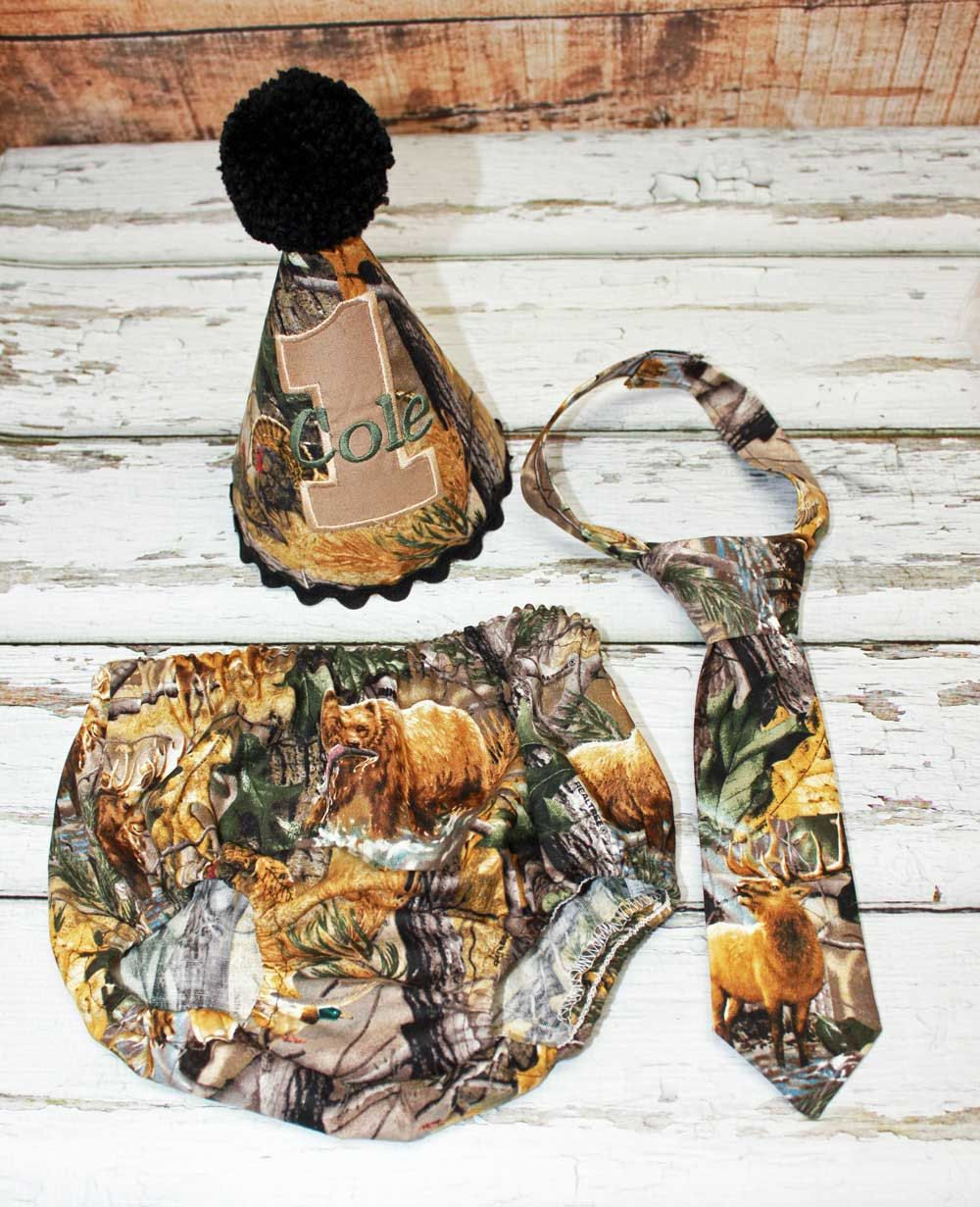 Hunting Camo Boys Cake Smash Outfit Boys Diaper Cover with Tie and