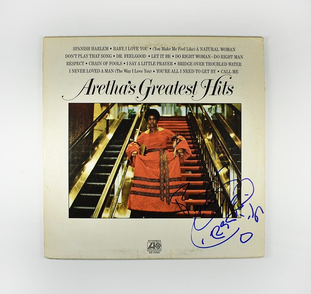 Aretha Franklin Greatest Hits Signed Record Album Lp Certified