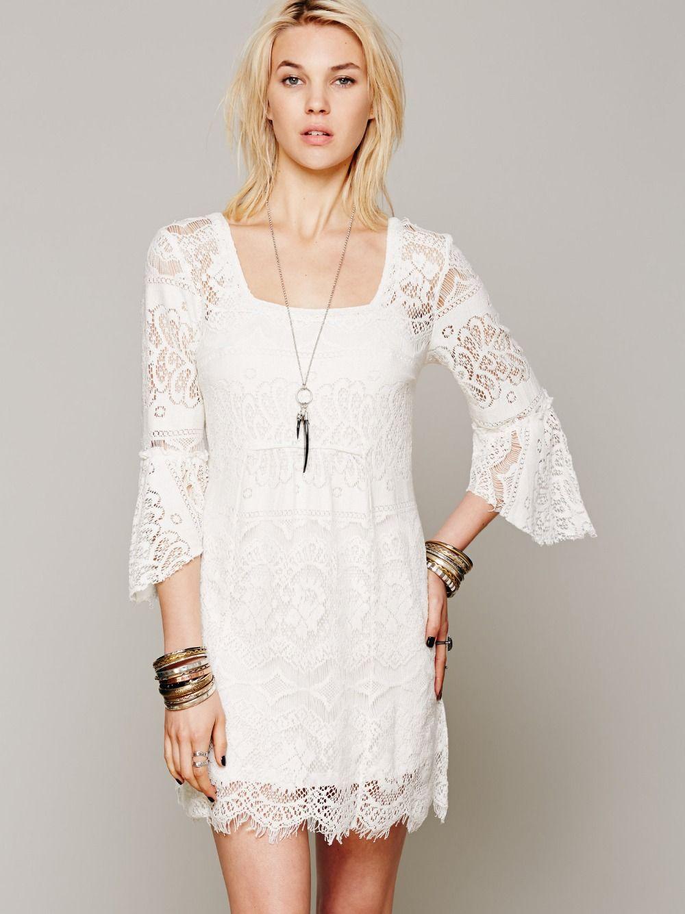 Free people white lace v-neck long sleeve dress