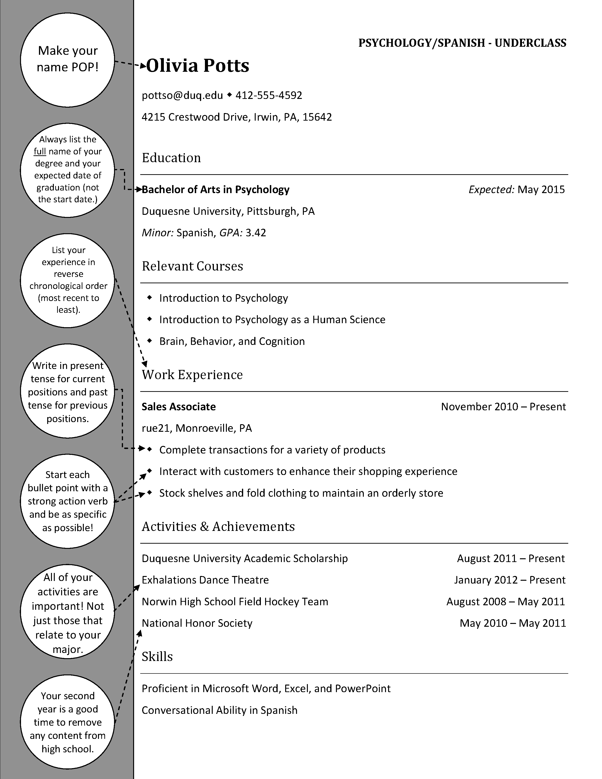 Psychology Underclass | Resumes and Cover Letters | Pinterest ...