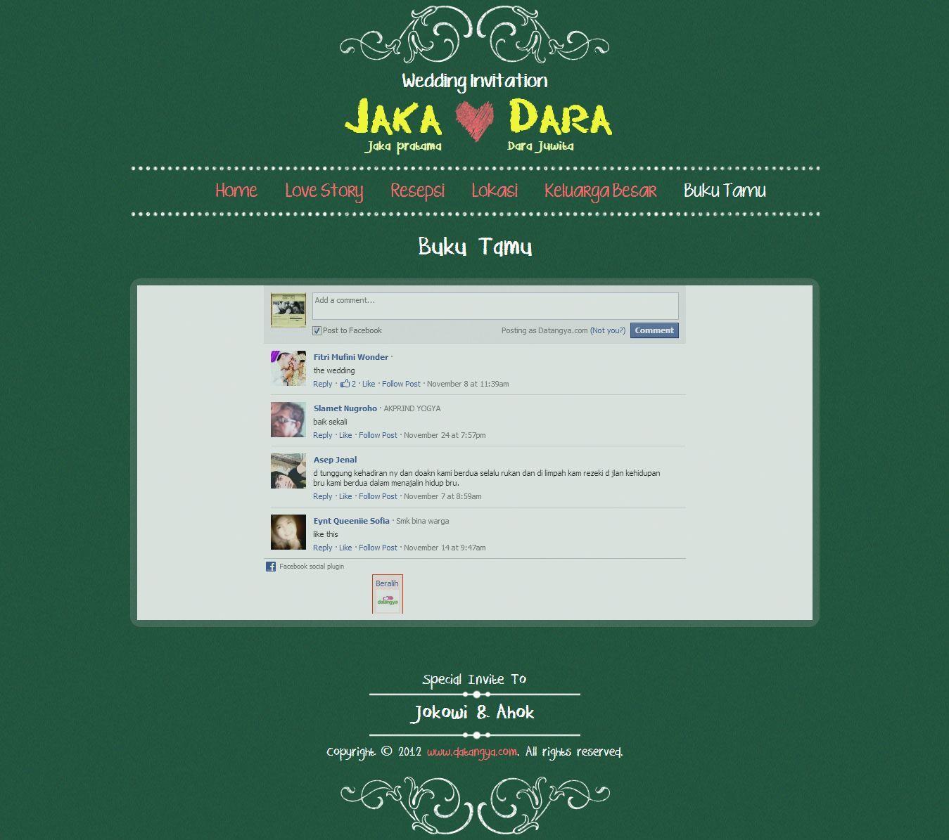 Halaman Buku Tamu Undangan Pernikahan Online Tema Chalkboard Hanya
