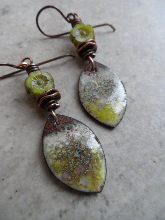 Fresh Mint ... Enameled Copper Charms Czech Glass by juliethelen