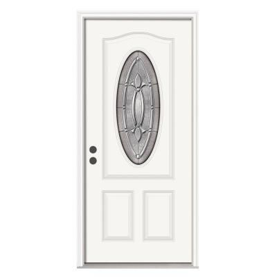 Jeld Wen Blakely 32 In X 80 In Steel White Prehung Right Hand