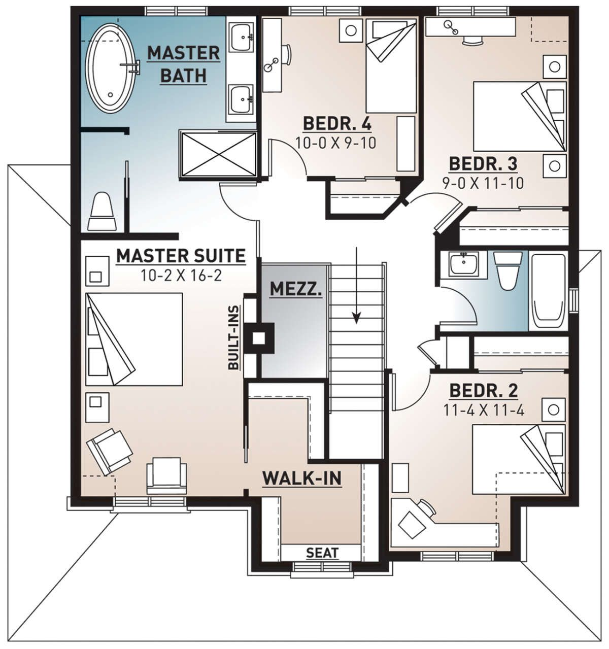 House Plan 034 00938 Narrow Lot Plan 1 935 Square Feet 4 Bedrooms 2 5 Bathrooms In 2021 Farmhouse Style House Plans Master Suite Floor Plan Bedroom Floor Plans