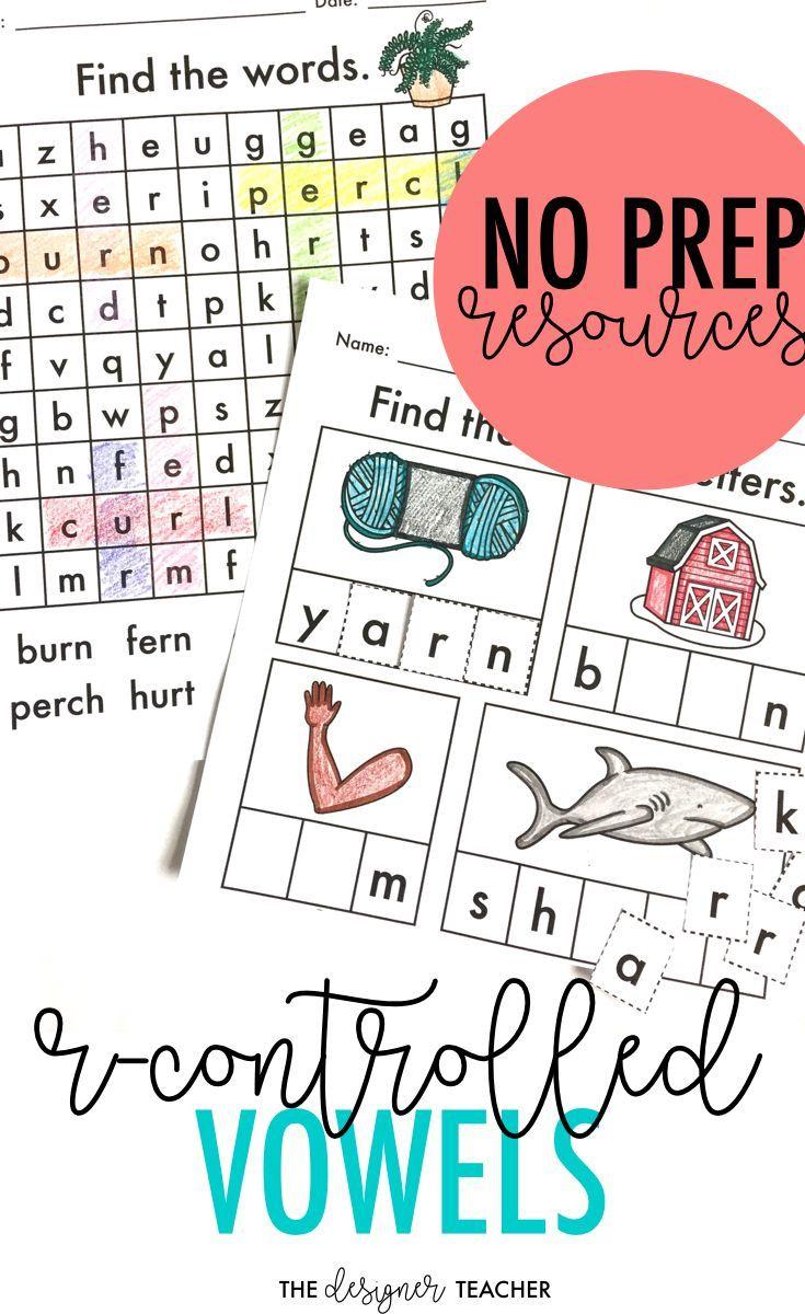 worksheet R Controlled Vowel Worksheets no prep phonics worksheets r controlled vowels word work ar or ir er ur