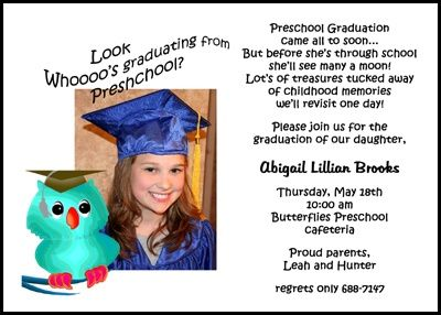 pre school graduating photo announcements and invitations with owl