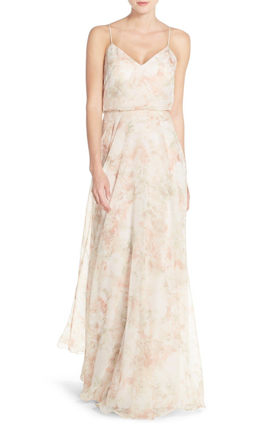 34fd7e94e Jenny Yoo 'Inesse' Print Chiffon V-Neck Sleeveless Gown | Blush Multi