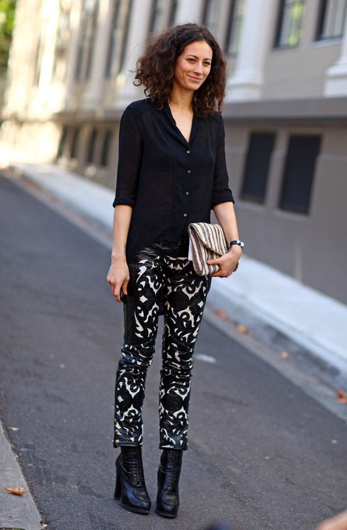 Black Pattern Pants | Street Fashion | Street Peeper | Global Street Fashion and Street Style. love this look. cheers, dana