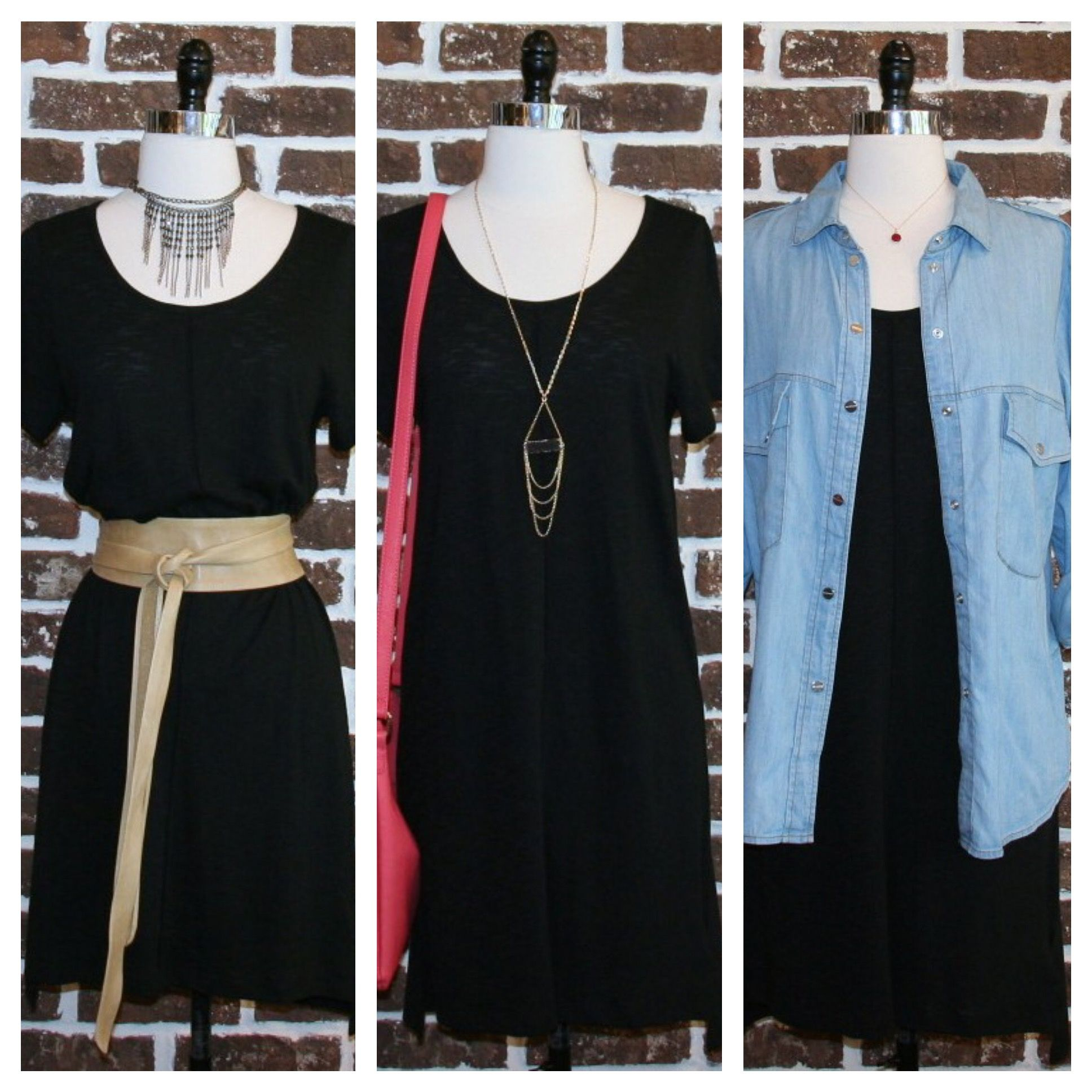 Simple black tshirt dress styled different ways if you want to