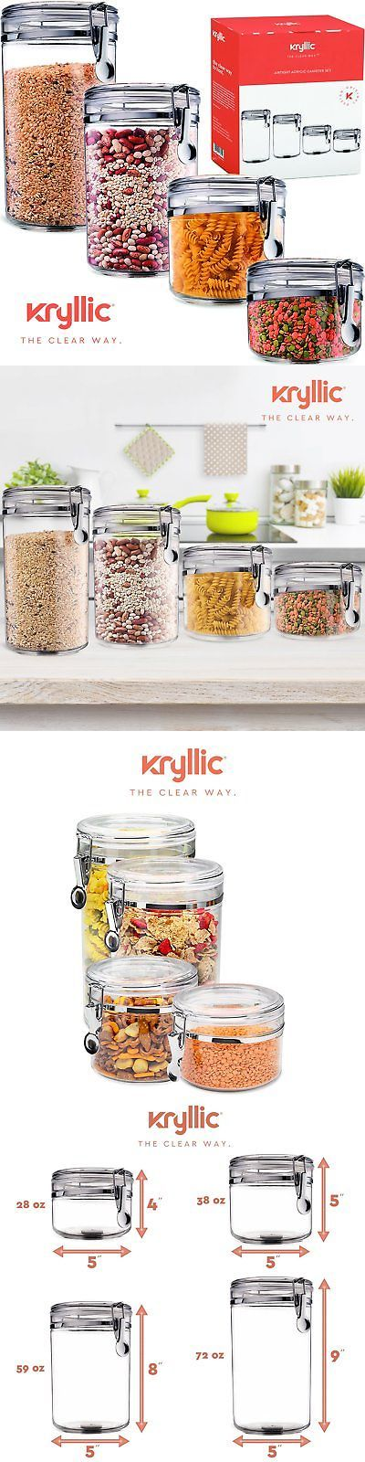 Food Storage containers canister 38 oz Air Tight Canisters with lids Kryllic.