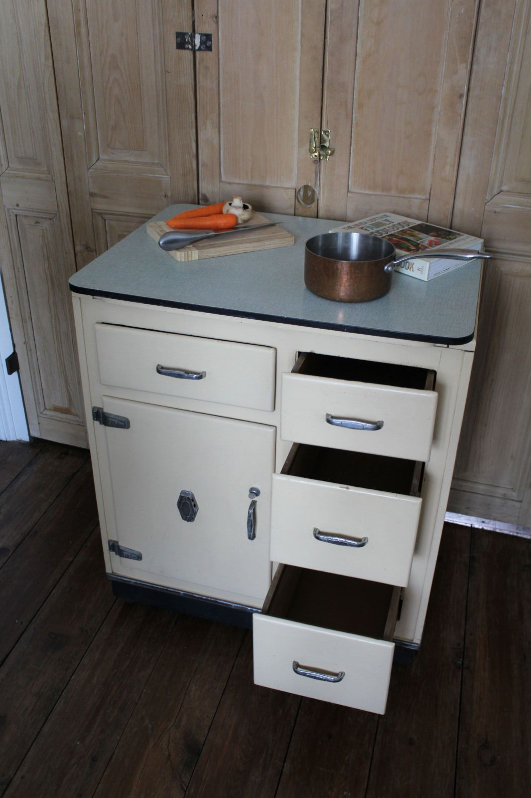 Wonderful Retro Vintage Kitchenette Cupboard With Cold Box And Formica Top Mid  Century In Home, Furniture