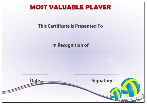 Volleyball Mvp Award Template  Volleyball Certificates Free