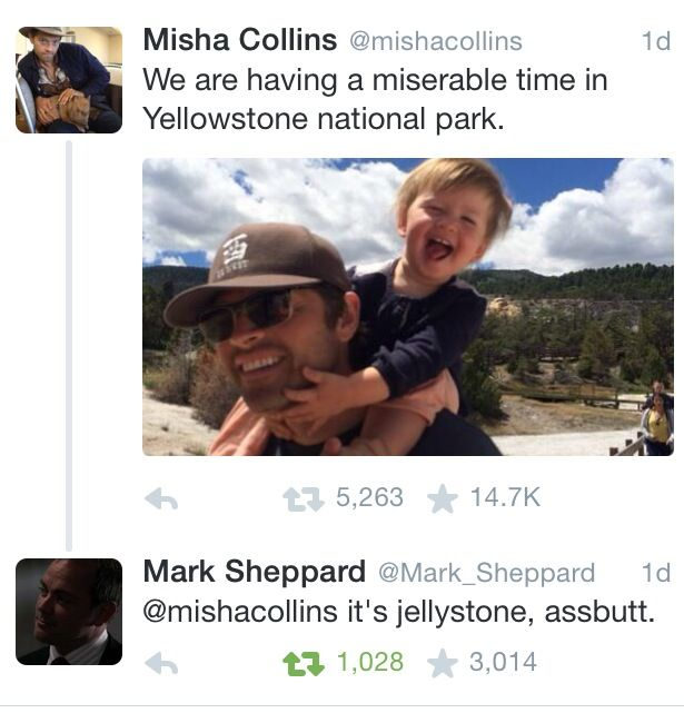 The fact that cast members use catch phrases from the show against each other warms my Supernatural obsessed heart.