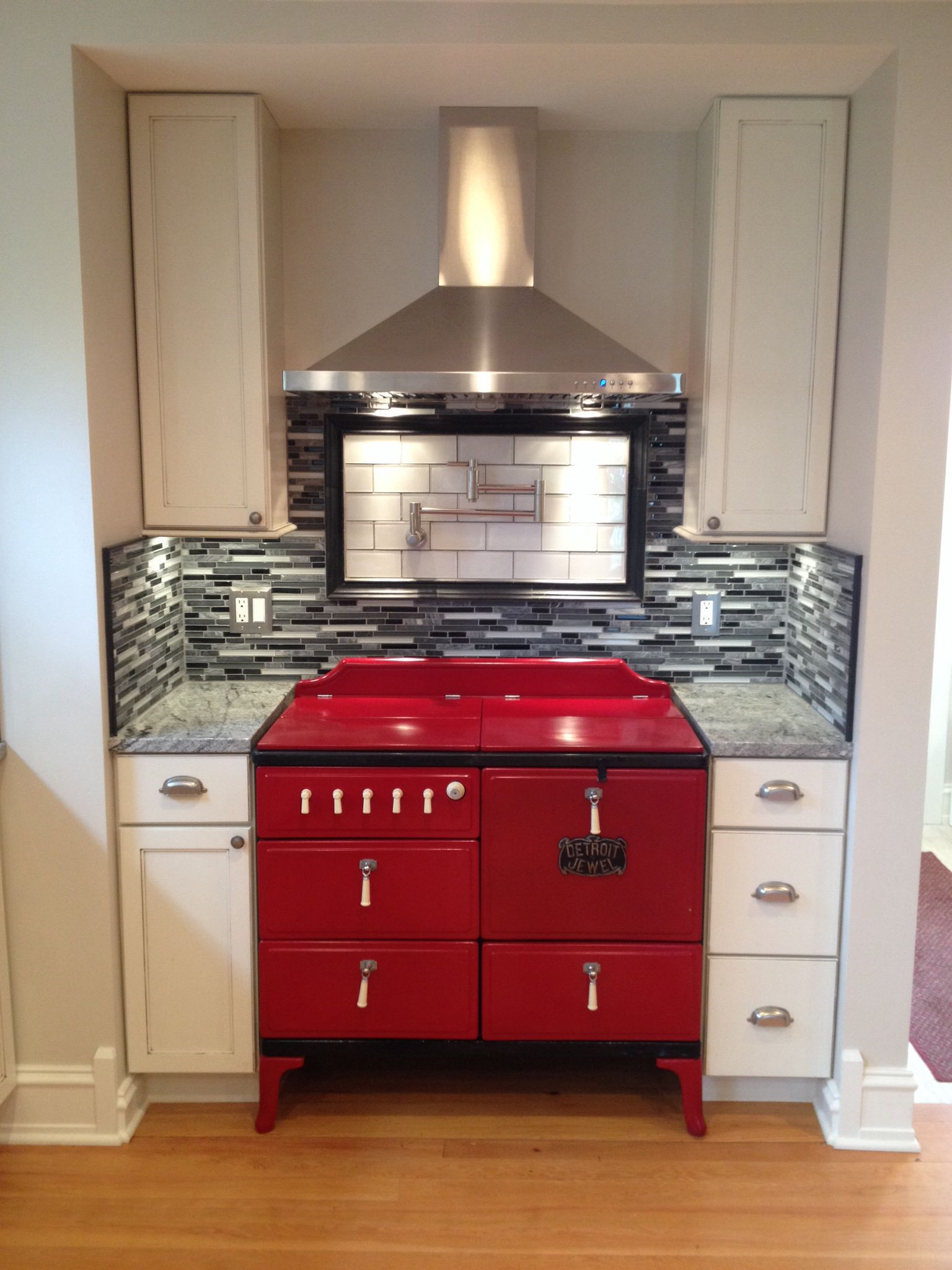 Detroit Jewel vintage stove restored and RED! Antique