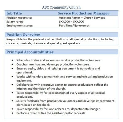 45 Free Downloadable Sample Church Job Descriptions – Production Director Job Description