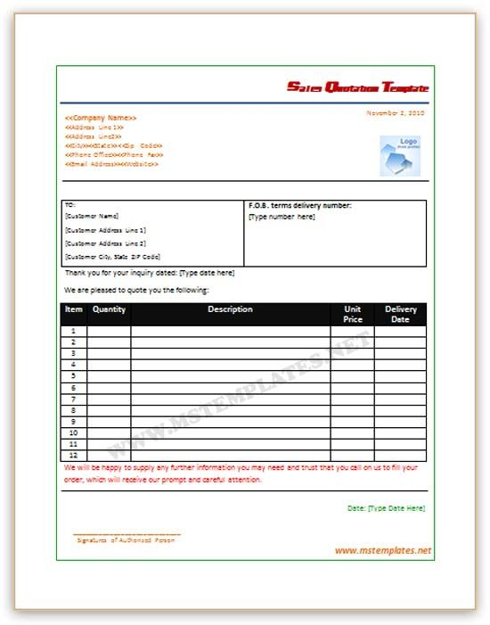 Microsoft Quotation Template Word Click here for a FREE video - quote spreadsheet template