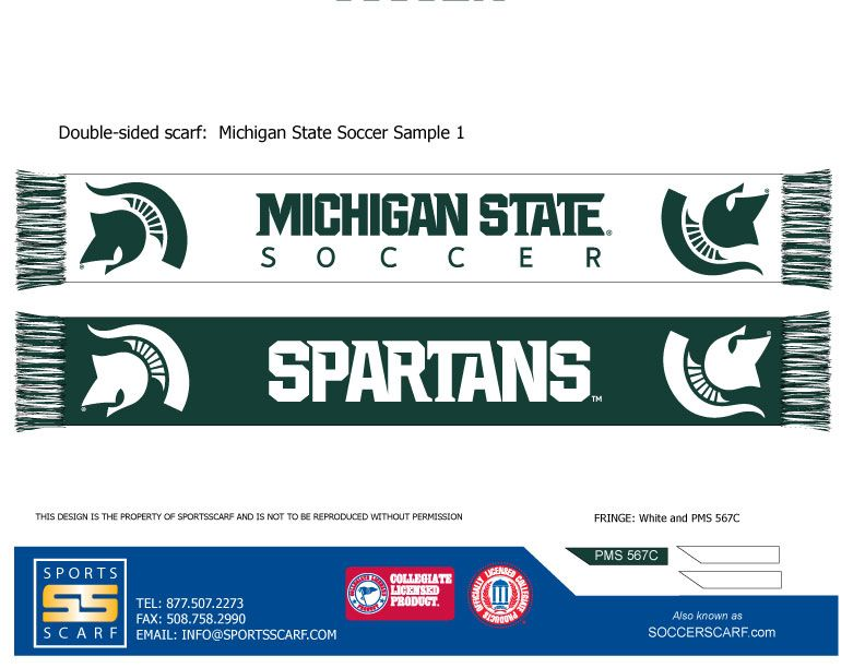 Michigan State Spartans Scarf for the Michigan State University Soccer Team!