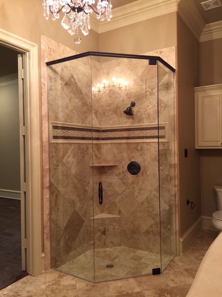 Frameless neo-angle shower enclosure with a door, 2 panels, and ...