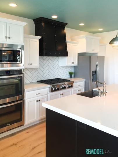 Exceptional We Love This White Kitchen That Is Anything But Boring! That Aqua Ceiling  And Black