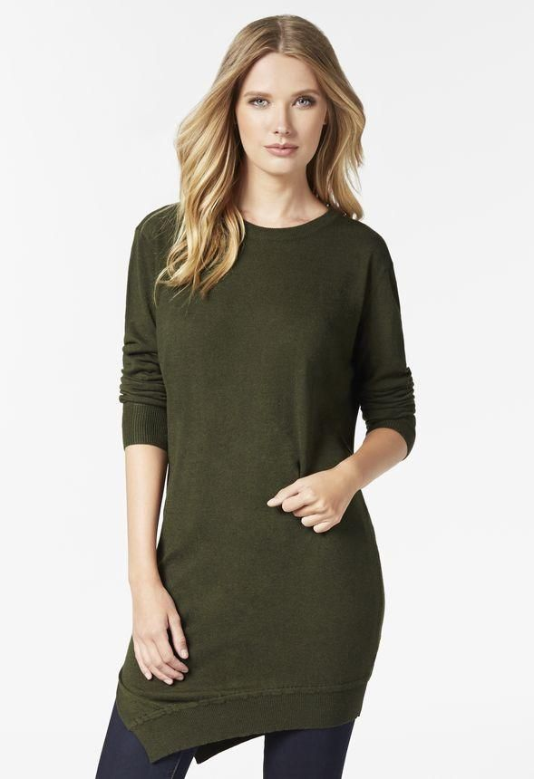 It's time for sweater weather. Cozy up in this Asymmetrical Sweater Dress.